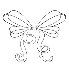 Outline ribbon bow vector