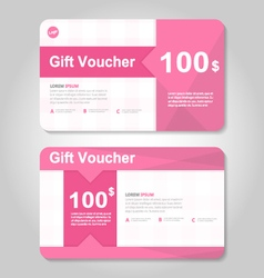 Pink gift voucher template layout design set vector