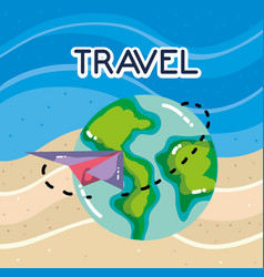 plane around world tourist vacation travel vector image