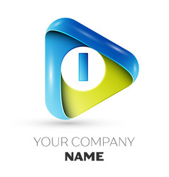 realistic letter i logo colorful triangle vector image
