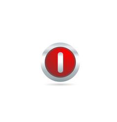 red metal i alphabet letter logo design icon vector image