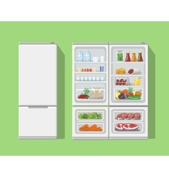 Refrigerator opened with food Fridge Open and vector image