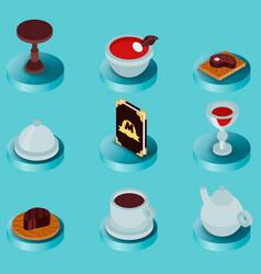restaurant flat isometric icons vector image