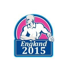 Rugby Player Running Ball England 2015 Retro vector image vector image