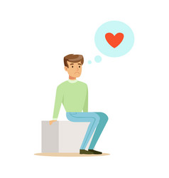 Sad lonely man in love sitting and dreaming vector