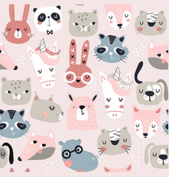 Seamless childish pattern with funny animals faces vector