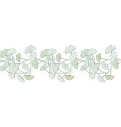seamless decorative border ginkgo biloba vector image