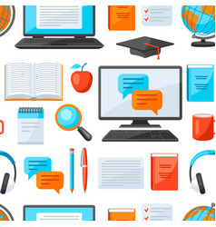 seamless pattern with online studying at home vector image