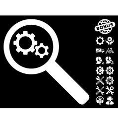 Search Gears Tool Icon with Tools Bonus vector