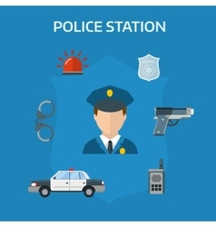 Security elements of the police equipment symbols vector