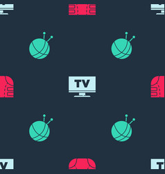 Set adult diaper smart tv and yarn ball vector