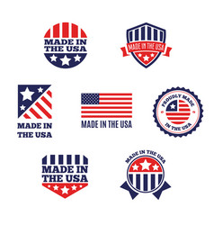 Set of made in the usa labels and badges vector