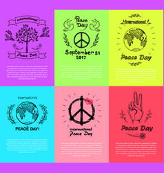 Set of posters for peace day vector