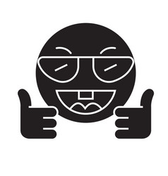 showing ok emoji black concept icon vector image