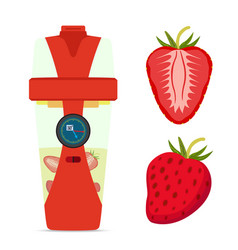 Smart hydrate bottle with strawberry nutrition vector