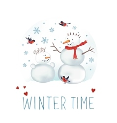 Snowmen bullfinches and snowflakes vector