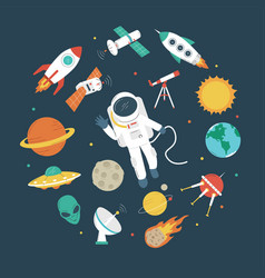 space objects astronaut rocket planets ufo vector image