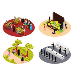 spy isometric compositions collection vector image
