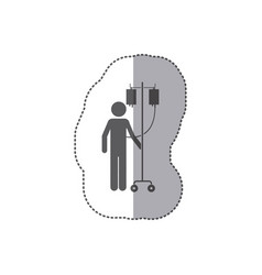 Sticker monochrome pictogram person hospitalized vector