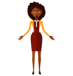 Surprised shocked african american young woman vector