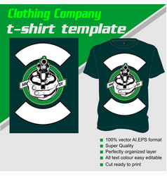 T-shirt template fully editable with gun vector