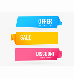 three sale banners with different colors vector image