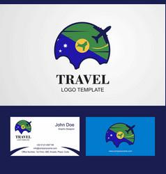 Travel christmas island flag logo and visiting vector
