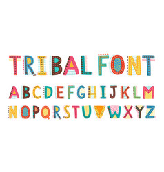 tribal cute alphabet font uppercase doodle vector image