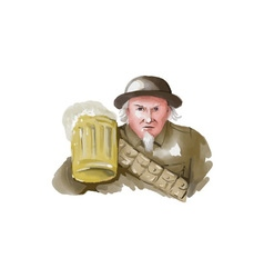 Uncle Sam WW1 Soldier Toasting Beer Watercolor vector