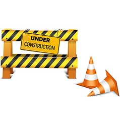 Under construction barrier over white background vector