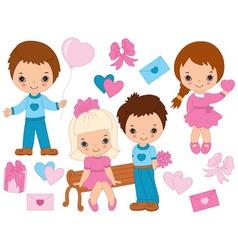 Valentines day kids set vector