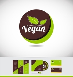 Vegan food badge logo design vector