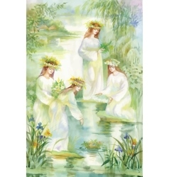 Watercolor women putting wreaths on lake water vector
