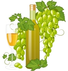 White wine bottle and wineglass vector
