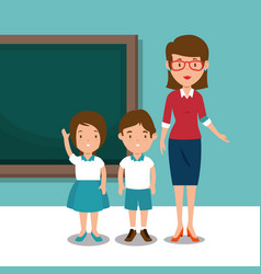 Woman teacher with students in the classroom vector