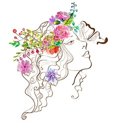 Beautiful woman with butterfly and flowersdoodle w vector