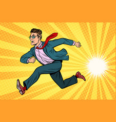 businessman running business concept vector image