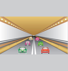 cars in tunnel vector image