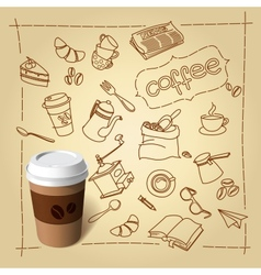 Coffee break doodles and paper cap vector image