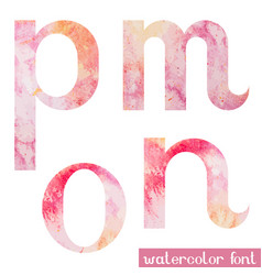 pink spring watercolor font letters m n o p vector image