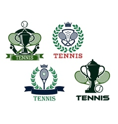 Set of tennis emblems or badges vector image vector image