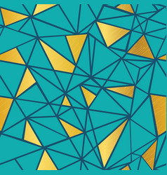 turquoise blue and gold foil geometric vector image