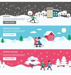 Winter Season 3 Flat Banners Set vector image