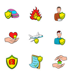 accident icons set cartoon style vector image