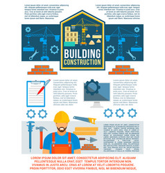 building and construction banner design vector image vector image