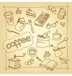 Coffee break doodles background vector image
