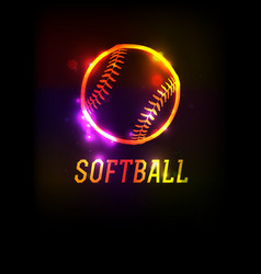 glowing softball icon background vector image vector image