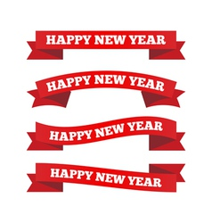 Happy new year ribbons vector image vector image