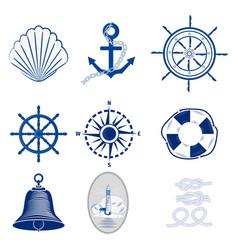nautical templates set marine labels sea badges vector image