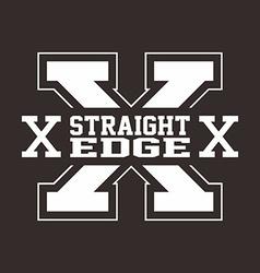 straight edge hardcore sign vector image